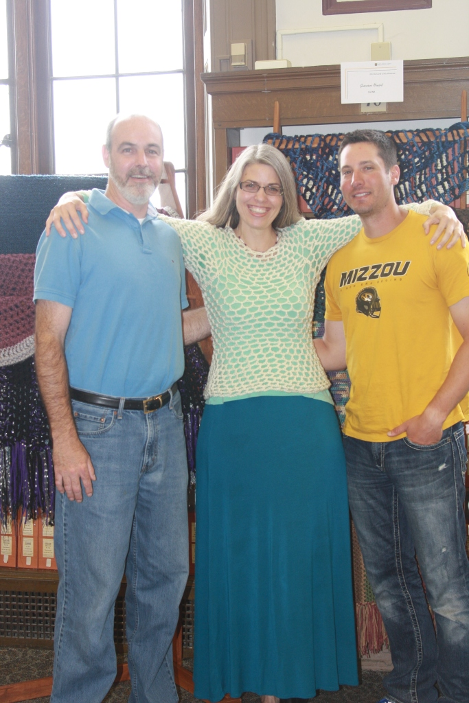 My friends who made the prayer shawl wooden racks for the displays