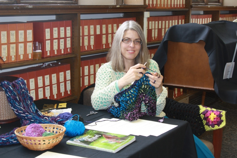 Demonstrating the prayer shawl creation