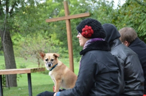 Cookie at the pet blessing. Photo by Dana Fritz.