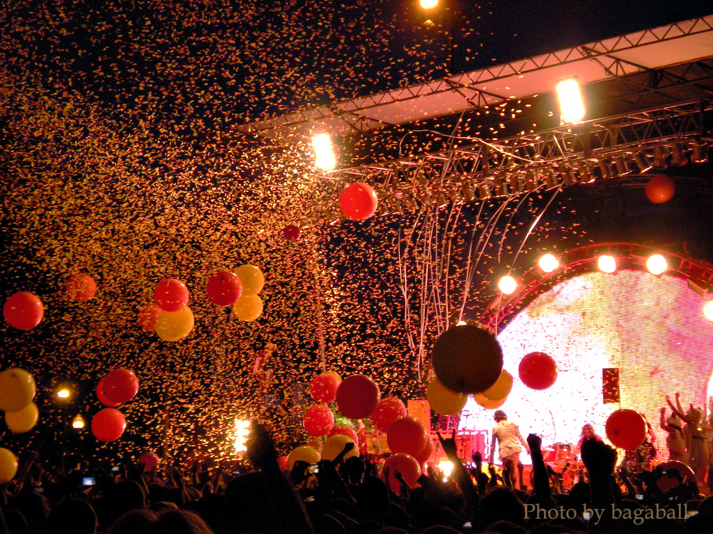 party with balloons and confetti