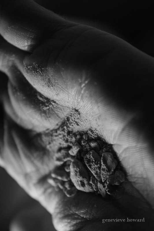 Hand with ashes
