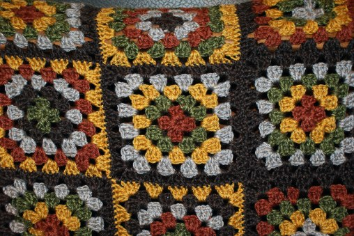 Classic granny square in iconic 1970s colors.