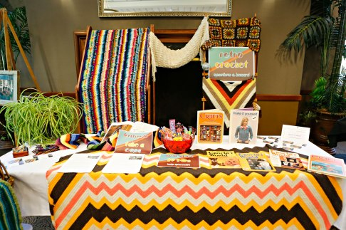 My 1970s retro crochet booth! Photo by Kyle Spradley.