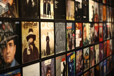 His wall of albums.