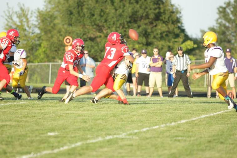 My son Derek #73 goes for a tackle. Photo courtesy of Erin McGruder.