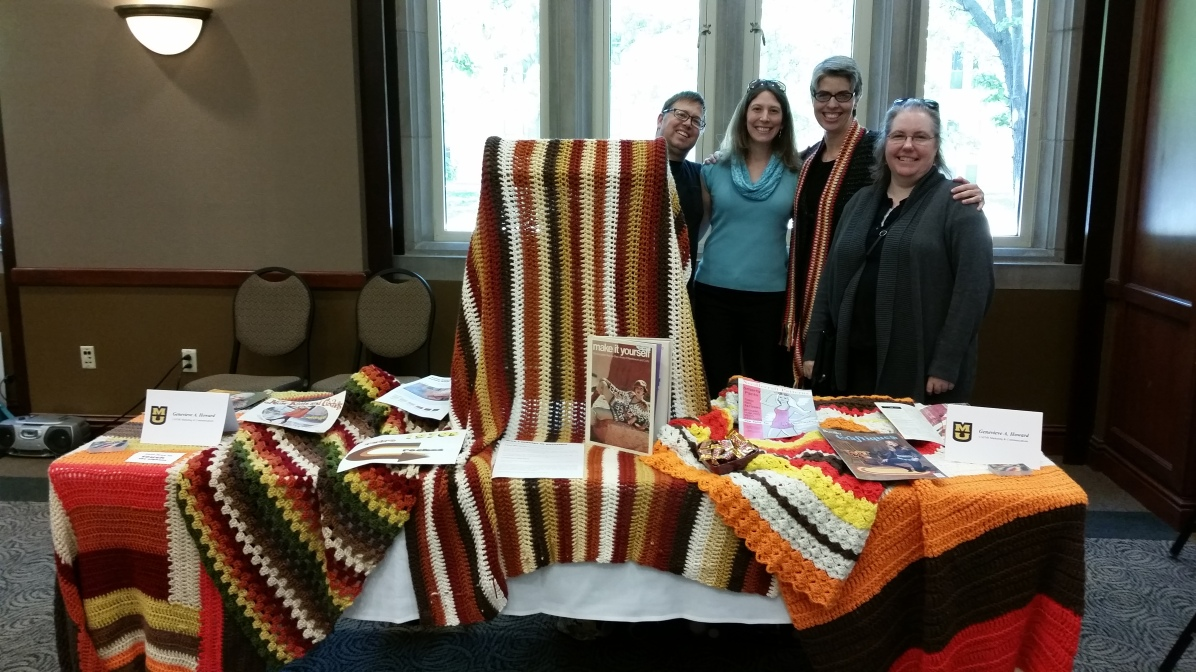 My crochet display with beloved friends at the 2015 Showcase